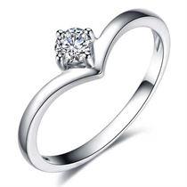 【咱们相爱吧】 白18金钻石钻戒钻石结婚戒指女戒