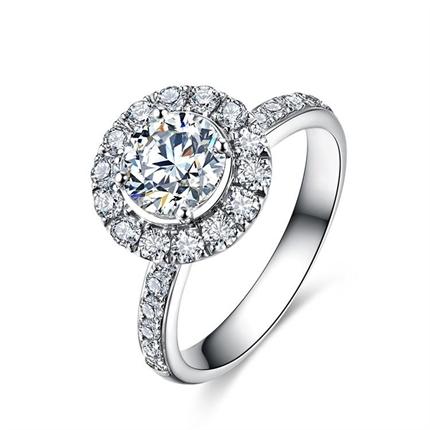 【摩天轮系列】 白18K金钻石戒指女款奢华群镶平安彩票开奖直播网