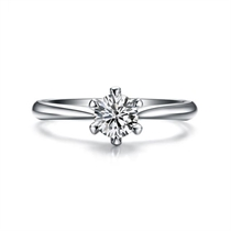 【挚爱】 白18k金六爪求婚订婚钻石戒指