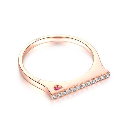 【手銬系列】 玫瑰18K金鉆石戒指女款鉆戒