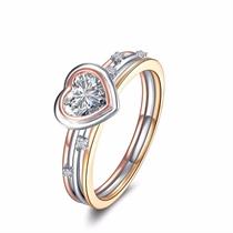 【心恋】 三色18K金钻戒女款时尚钻石戒指个性潮流
