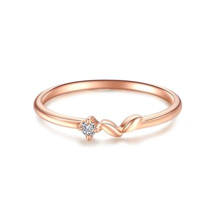 【爱芽】 玫瑰18K金钻石戒指时尚女款钻石排戒