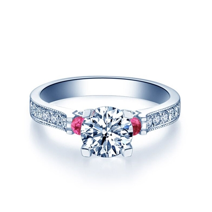 【城堡系列】 白18K钻石结婚求婚钻戒