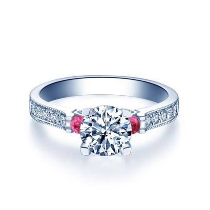 【夢幻城堡】 白18K鉆石結婚求婚鉆戒