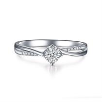 【温婉】 白18K金钻石女士戒指