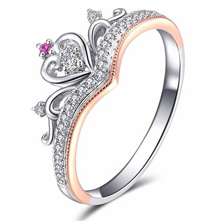 【一生的公主】 白18K金女士戒指