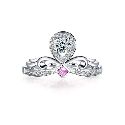 【一生的公主】 白18K金钻石宝石皇冠形钻戒