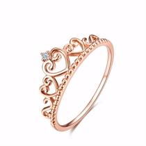 【皇冠】 玫瑰金1分/0.01克拉钻石女士戒指