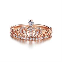 【桂冠】 玫瑰18K金皇冠钻石戒指时尚女戒