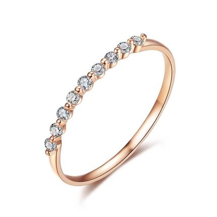 【公主】 玫瑰金钻石女士戒指