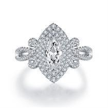 【千年】 白18k金50分橄榄形群镶钻石戒指