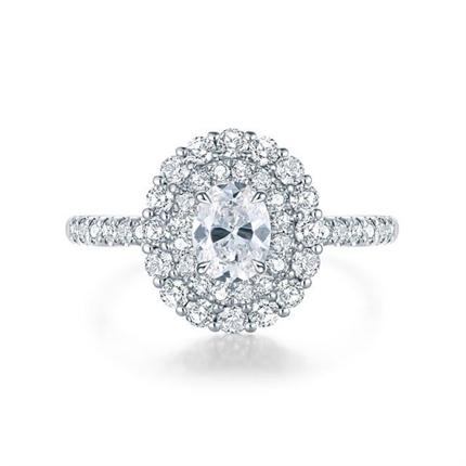 【爱冕】 白18k金50分椭圆群镶钻石戒指