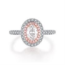 【轮回】 18k双色金60分椭圆群镶钻石戒指
