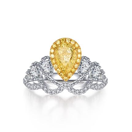 【一生的公主】 18K双色金异形钻戒结婚钻戒