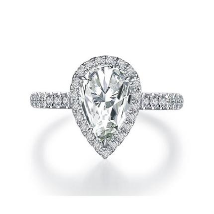 【耀世】 白18k金1.5克拉水滴形钻石戒指