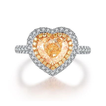 【心跳】 白18K金1克拉心形群镶钻石戒指