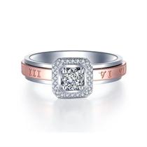 【时光TIME&LOVE】 18k双色金群镶钻石结婚戒指