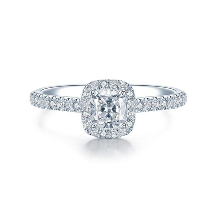 【执手】 白18k金52分公主方群镶钻石戒指