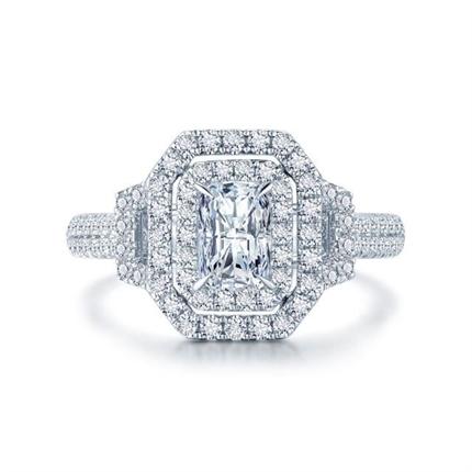 【星眸】 白18k金祖母绿形群镶钻石戒指