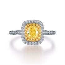 【永恒】 18k双色金55分公主方群镶钻石戒指