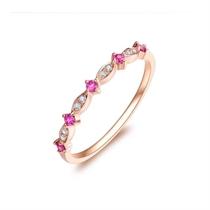 【瞬间】 玫瑰18K金女款红宝石钻戒