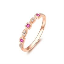 【瞬间】 玫瑰18K金时尚红宝石钻戒女戒