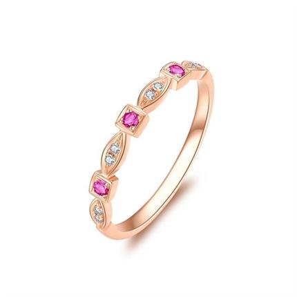 【瞬間】 玫瑰18K金時尚紅寶石鉆戒女戒