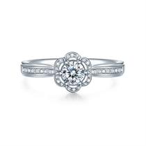 【捧花-勿忘我】 白18K金30分群镶结婚钻石戒指
