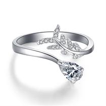 【花系列】 白18k金50分水滴形异形钻石女戒婚戒