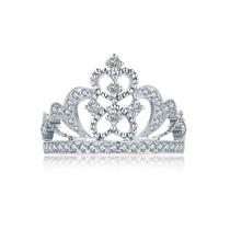 【一生的公主-女王】 18K金白金女款钻石戒指