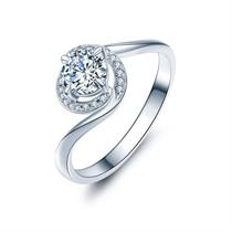 【倾城】 白18k金群镶求婚钻石戒指
