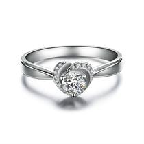 【玫瑰人生】 白18K金心形求婚订婚结婚钻石戒指