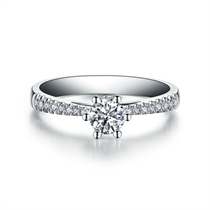 【挚爱-加冕我 】 白18K金30分/0.3克拉求婚结婚订婚钻石女士戒指