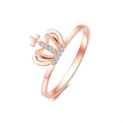 【小皇冠】 玫瑰18K金皇冠鉆石戒指