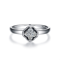 【蕊心】 白18K金钻石群镶钻戒