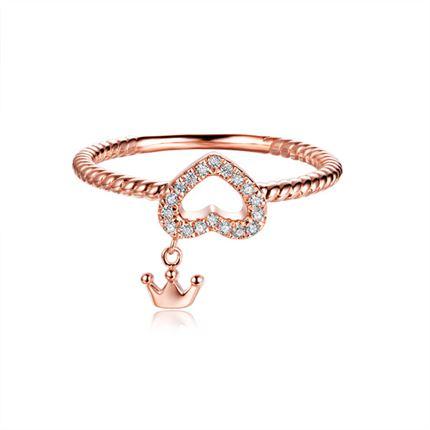 【心之女王】 玫瑰18K金心形钻石戒指
