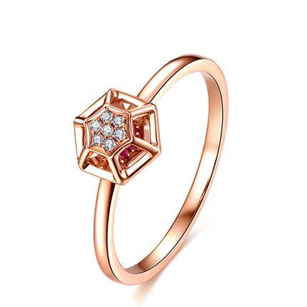 【巢】系列 玫瑰18K金钻戒钻石女戒