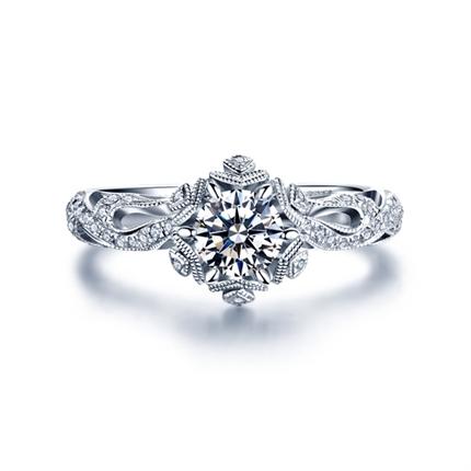 【初雪】系列 白18K金30分/0.3克拉钻石密斯戒指