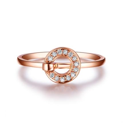 【几何】 玫瑰18K金红宝石钻石钻戒