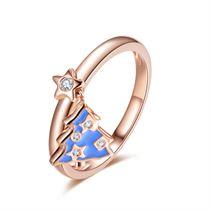 【圣诞树】系列 玫瑰18K金钻石戒指时尚钻戒