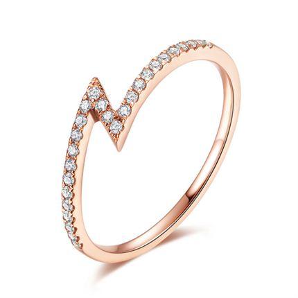 【光系列-闪电】 玫瑰18K金钻石戒指简约女细戒指