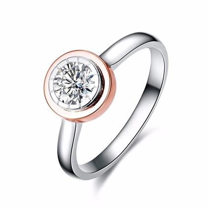 【时光里的爱】 白色玫瑰色18k双色彩金钻石戒指