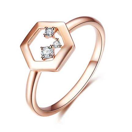 【巢】系列 玫瑰18K金 钻石戒指女戒钻戒