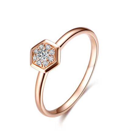 【巢】系列 玫瑰18k金 钻石女士戒指
