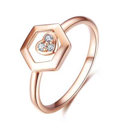 【巢】 系列 玫瑰18K金钻石女戒钻戒