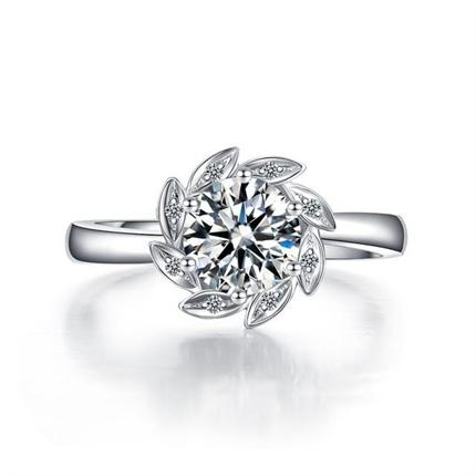 【捧花-太阳花】 白18k金群镶钻戒求婚结婚戒指