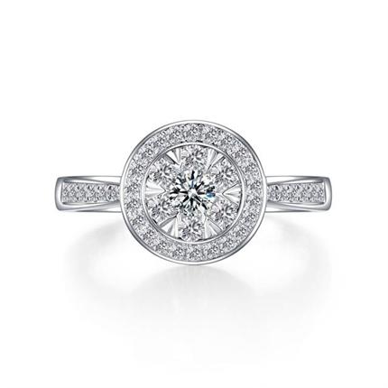 【花火】系列 白18K金鉆石女士戒指