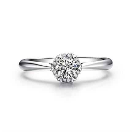 【挚爱-珍藏我】 白18k金群镶钻戒求婚结婚戒指