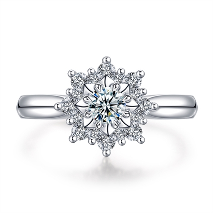 【初雪系列】 白18k金结婚求婚群镶钻石女款戒指