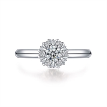 【花火】 白18k金唯美求婚订婚结婚钻石戒指